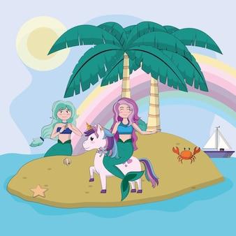 Mooie zeemeerminnen rijden eenhoorn in eiland