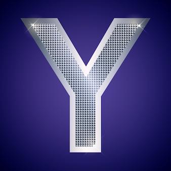 Mooie zilveren letter y met briljanten. vector lettertype, alfabet lettertype voor logo of pictogram eps10