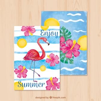 Mooie zomer aquarelkaarten met flamenco en bloemen
