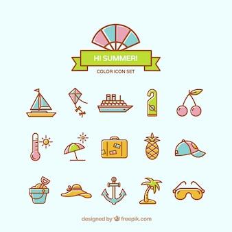 Mooie zomer pictogrammen