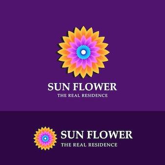 Mooie zonnebloem logo ontwerpsjabloon