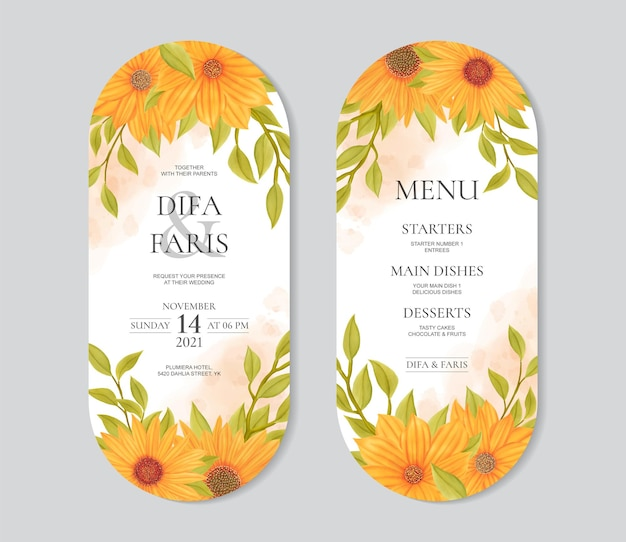 Mooie zonnebloem trouwkaart en menusjabloon