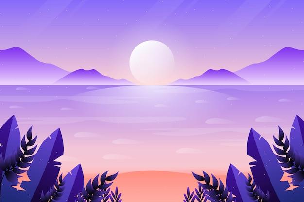 Mooie zonsonderganghemel en overzeese achtergrond