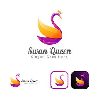 Mooie zwaan koningin logo conceptontwerp