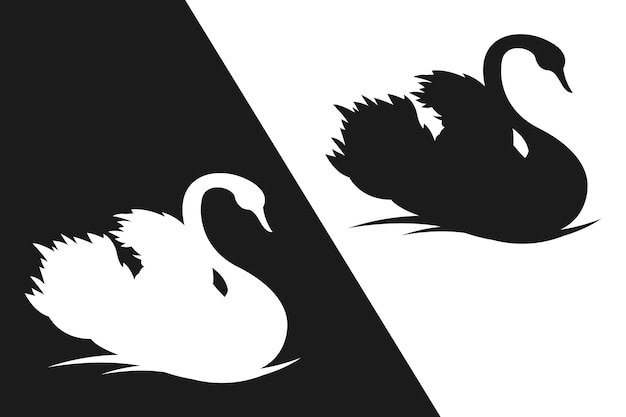Mooie zwaan silhouet concept