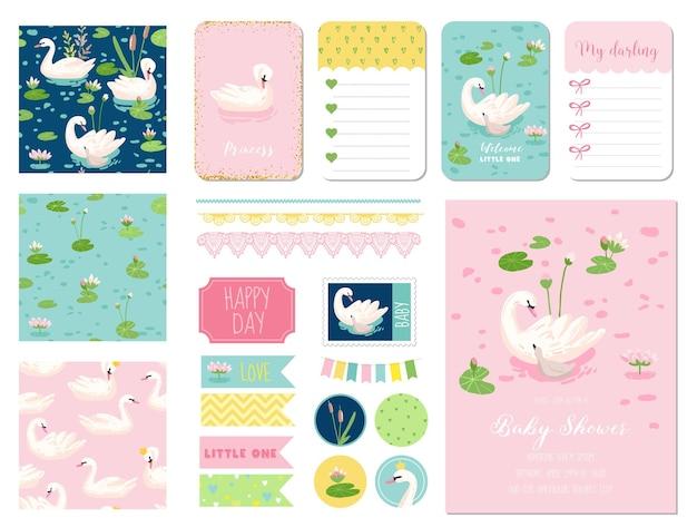 Mooie zwanen baby shower plakboek set. vector scrapbooking met decoratieve elementen, tags, etiketten, stickers, notities, naadloze patronen, uitnodigingskaart aankondiging.