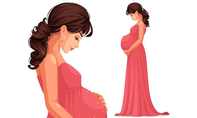 Mooie zwangere vrouw, gekleed in lange roze jurk met haar buik