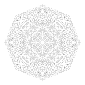 Mooie zwart-wit natuur illustratie voor volwassen kleurboek met geïsoleerd op de witte achtergrond lineaire bloemmotief met bladeren