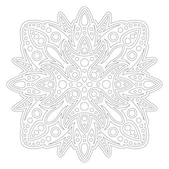Mooie zwart-wit vectorillustratie voor het kleuren van de fotoboekpagina met abstracte vierkante lineaire patroon geïsoleerd op de witte background