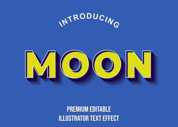 Moon - 3d geelblauwe teksteffectstijl