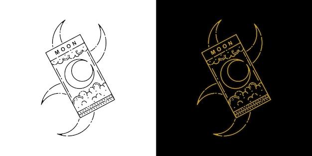 Moon card tattoo monoline ontwerp