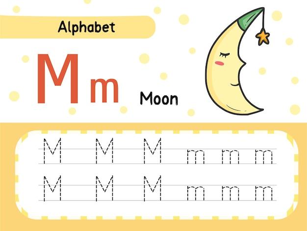 Moon m lettertracering werkbladoefening voor kinderen