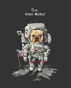Moon walker slogan met cartoon hond in astronaut op zwarte achtergrond