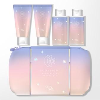 Moonlight holographic theme gradient pastel travel kit bag set met tube & bottle-verpakking