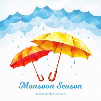 Moonson seizoen achtergrond met regen