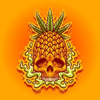 Moordenaar cannabis ananas vloeibare illustratie