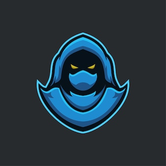 Moordenaar hoofd cartoon logo sjabloon illustratie. esport logo gaming premium vector