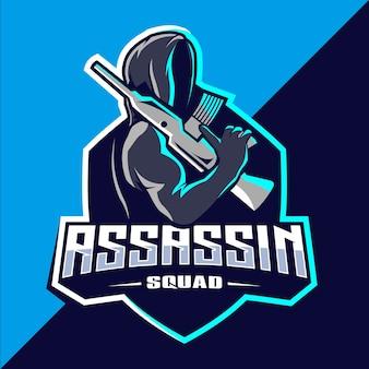 Moordenaar met geweren mascotte esport logo-ontwerp