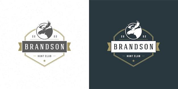 Moose hoofd logo embleem illustratie silhouet voor shirt of print stempel