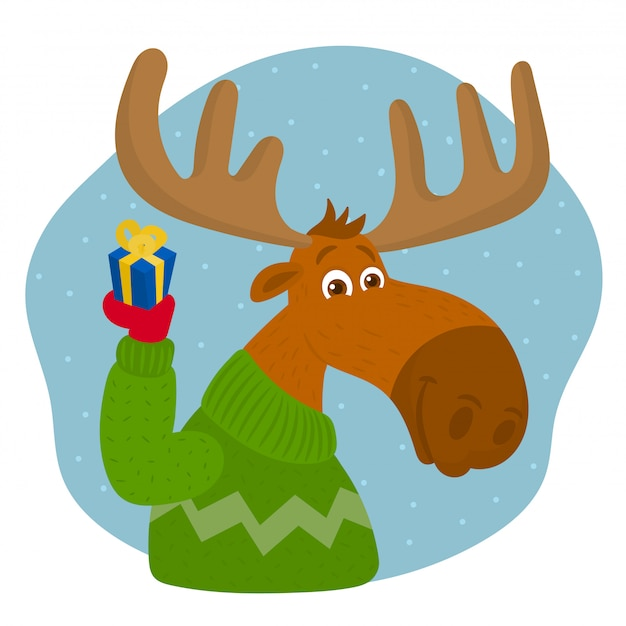 Moose met kerstcadeau doos