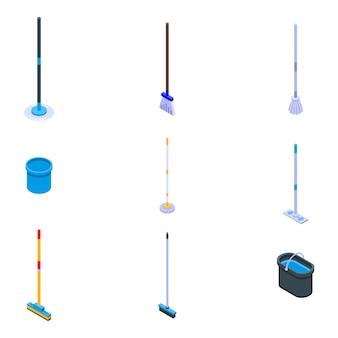 Mop iconen set, isometrische stijl