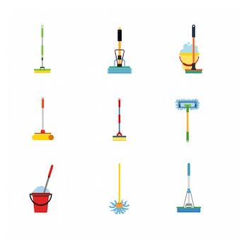 Mop plat pictogrammen.