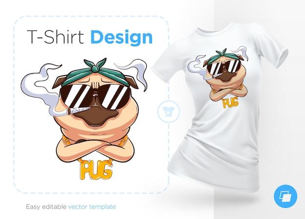 Mops leven. print op t-shirts, sweatshirts en souvenirs. brutale pug gangster met gouden ketting. illustratie
