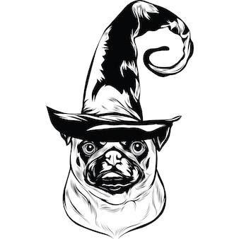 Mopshond met heksenhoed voor halloween