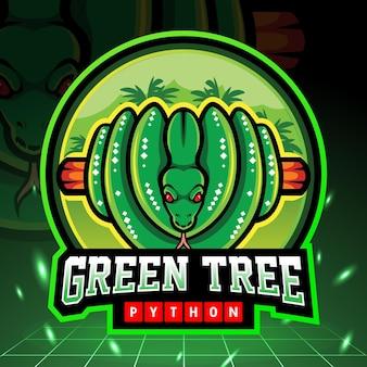 Morelia viridis mascotte van groene boompython. esport logo ontwerp