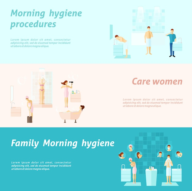 Morning family and woman hygiëne banner