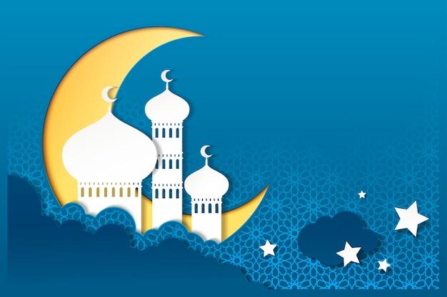 Moskee aan de hemel in papieren kunststijl