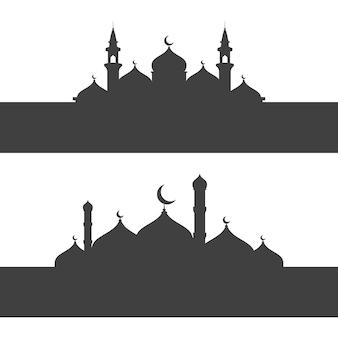 Moskee achtergrond vector illustratie ontwerpsjabloon
