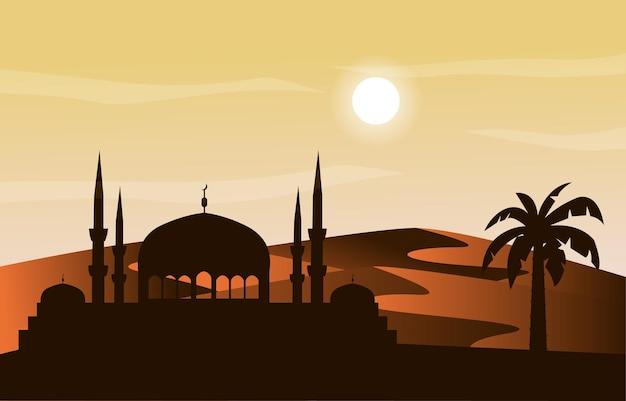 Moskee arabische woestijn moslim eid mubarak islamitische cultuur illustratie