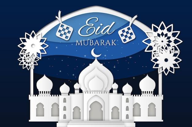 Moskee en bloemen papierstijl eid mubarak