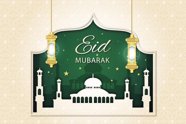 Moskee en groene nacht papierstijl eid mubarak