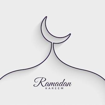 Moskee gemaakt met lijn ramadan kareem achtergrond
