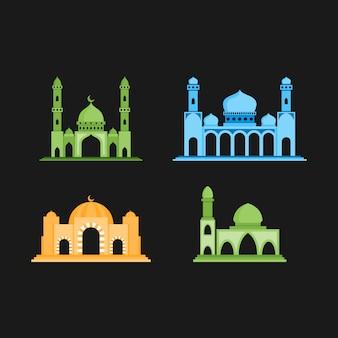 Moskee illustratie, perfect voor islamitische thema. egale kleurstijl Premium Vector