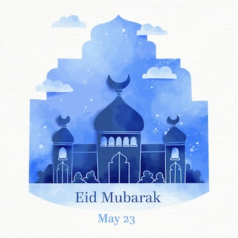 Moskee in de nacht aquarel eid mubarak