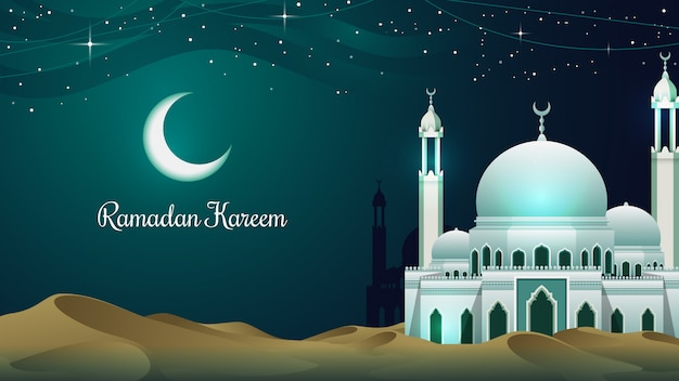 Moskee in de woestijn ramadan kareem achtergrond