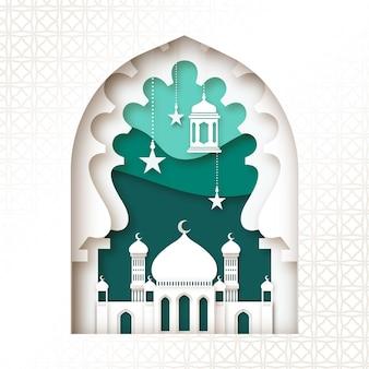Moskee in lagen papierstijl eid mubarak