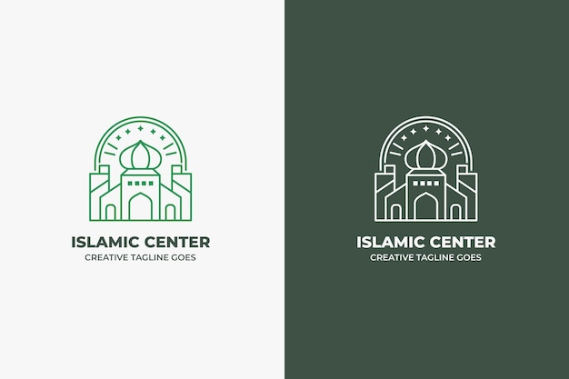 Moskee islamitisch centrum vintage minimalistisch logo