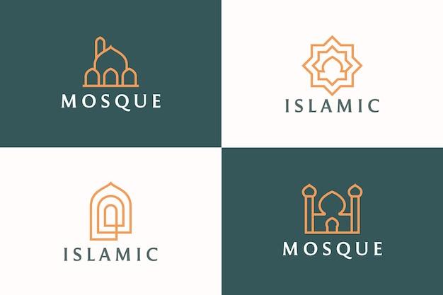 Moskee islamitisch logo sjabloon