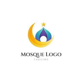 Moskee-logo met maanvorm Premium Vector