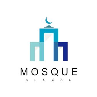 Moskee logo ontwerpsjabloon, arabisch gebouw symbool