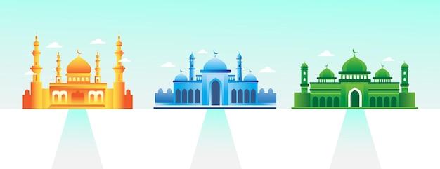 Moskee met kleurrijke icoon collectie