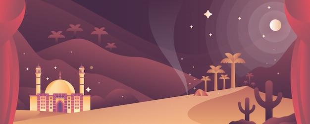 Moskee op woestijn islamitische illustratie