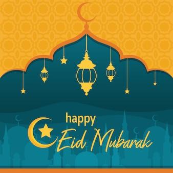 Moskee op woestijn met lantaarn islamitische illustratie van happy eid mubarak