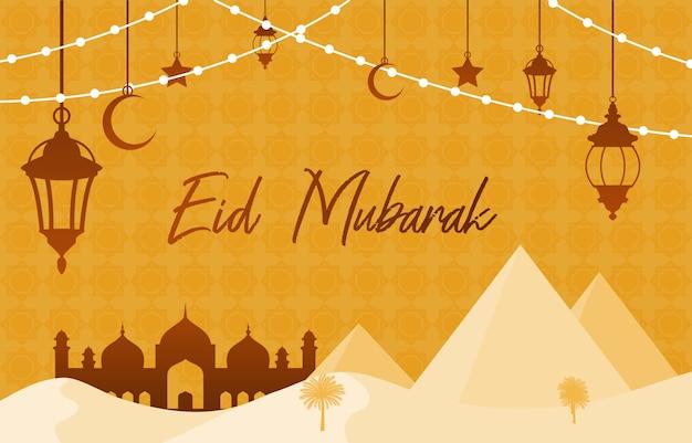 Moskee op woestijn met piramide lantaarn islamitische illustratie van happy eid mubarak