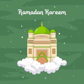 Moskee ramadan kareem islamitische cartoon