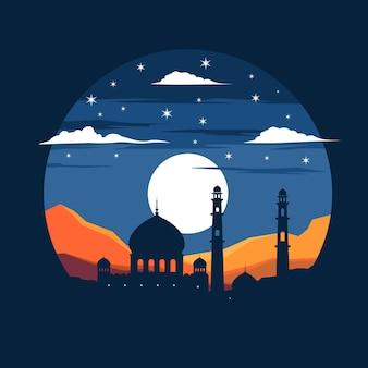 Moskee silhouet vlakke afbeelding